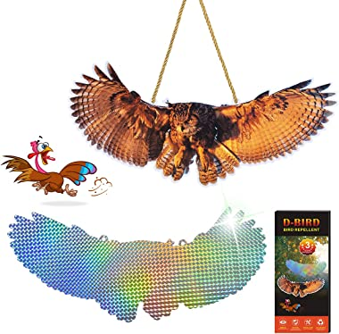 2020 New Bird Repellent,Simulation Owl, High Effective Reflection Materials to Scare Birds Away Animal Deterrent-3 Pack
