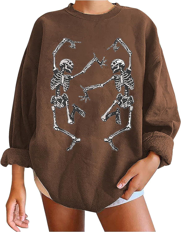 Womens Halloween Casual 90s Long Sleeve Skeleton Graphic Pullovers Loose Tops Sweatshirts Jackets Hoodies Blouses