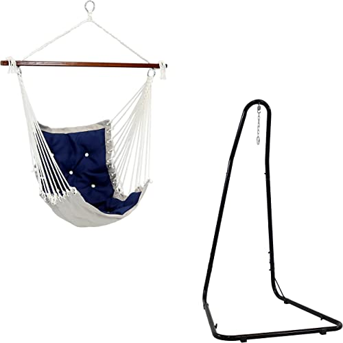 high quality Sunnydaze Adjustable 79- to 93-Inch Tall 330-Pound Weight Capacity Black Hammock new arrival Chair high quality Stand and 300-Pound Weight Capacity Tufted Victorian Hammock Chair Swing in Navy Blue Bundle outlet online sale