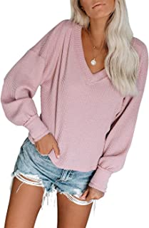 Miskely Womens V Neck Long Sleeve Waffle Knit Blouse Off Shoulder Pullover Sweater Tops Shirt