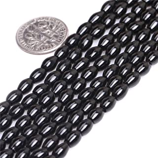 JOE FOREMAN 4X6mm Black Agate Semi Precious Gemstone Olivary Loose Beads for Jewelry Making DIY Handmade Craft Supplies 15