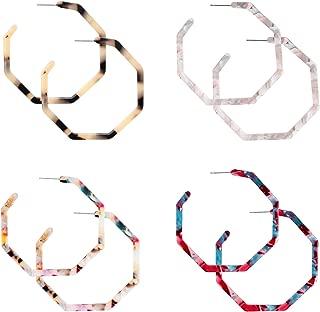 4 Pairs Mottled Acrylic Hoop Earrings for Women Girls Resin Hoop Stud Earrings Set Bohemian Polygonal Fashion Jewelry