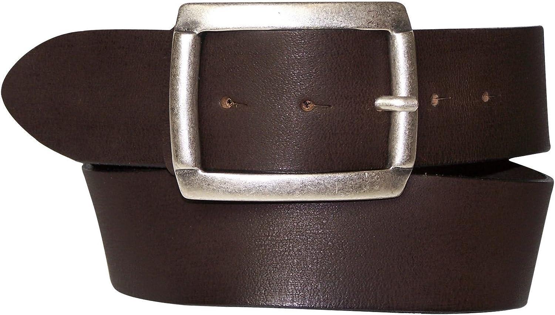 FRONHOFER leather belt antique silver rectangular buckle 17245, color Dark brown, Size waist size 27.5 IN XS EU 70 cm