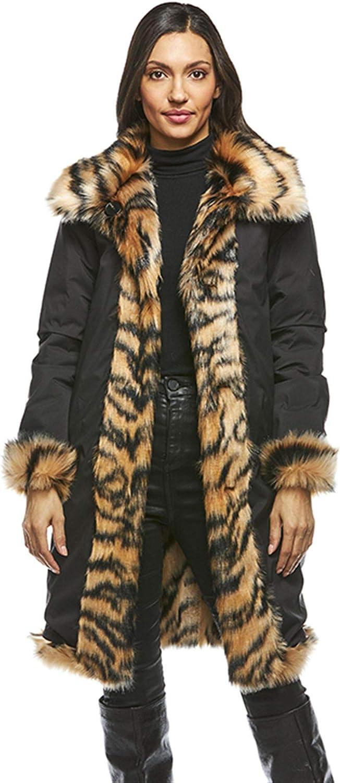 Tiger Reversible Faux Fur Storm Coat (XL) (Tiger)