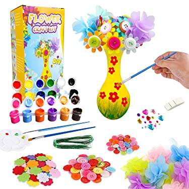 JIABNUKKN Flower Craft Kit for Kids, Paint Your Own Flower Vase Art Toy, Crafts for Girls & Boys Ages 4-8, DIY Activity Birthday Arts and Crafts for Kids Age 4 5 6 7 8 9 -12 Years Old Boys Girls