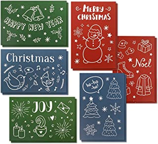 36-Pack Christmas Greeting Cards Bulk Box Set - Assorted Winter Holiday Xmas Greeting Cards in 6 Illustrated Doodle Designs, Envelopes Included, 4 x 6 Inches