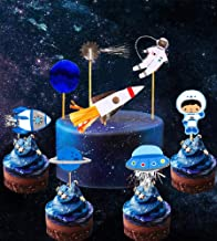28 PCS JeVenis Space Astronaut Cupcake Toppers Rocket Cake Decorations Earth Cupcake Toppers for Space Theme Party Kids planets Birthday Party Stars Baby Shower