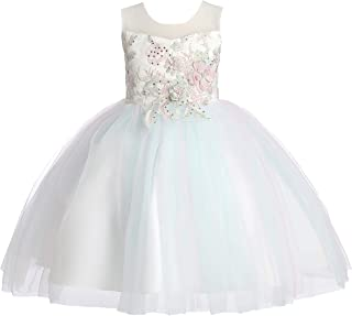 Weileenice 6M-12Y Kids Costume Cosplay Dress Girl Rainbow Tulle Dress 3D Embroidery Beading Baby Girls Princess Dress