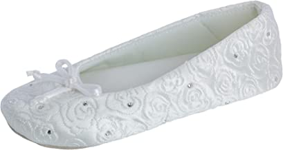 ISOTONER Women's Rose Quilted Satin Ballerina with Rhinestones White Large 8-9