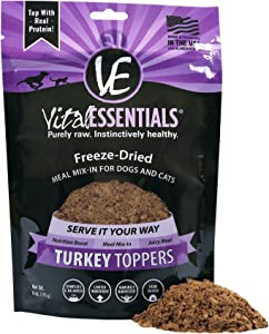 Vital Essentials Freeze Dried Turkey Topper - Meal Mixer for Dogs Or Cats - 100% USA All Natural - All Breeds - Grain Free - 6 oz