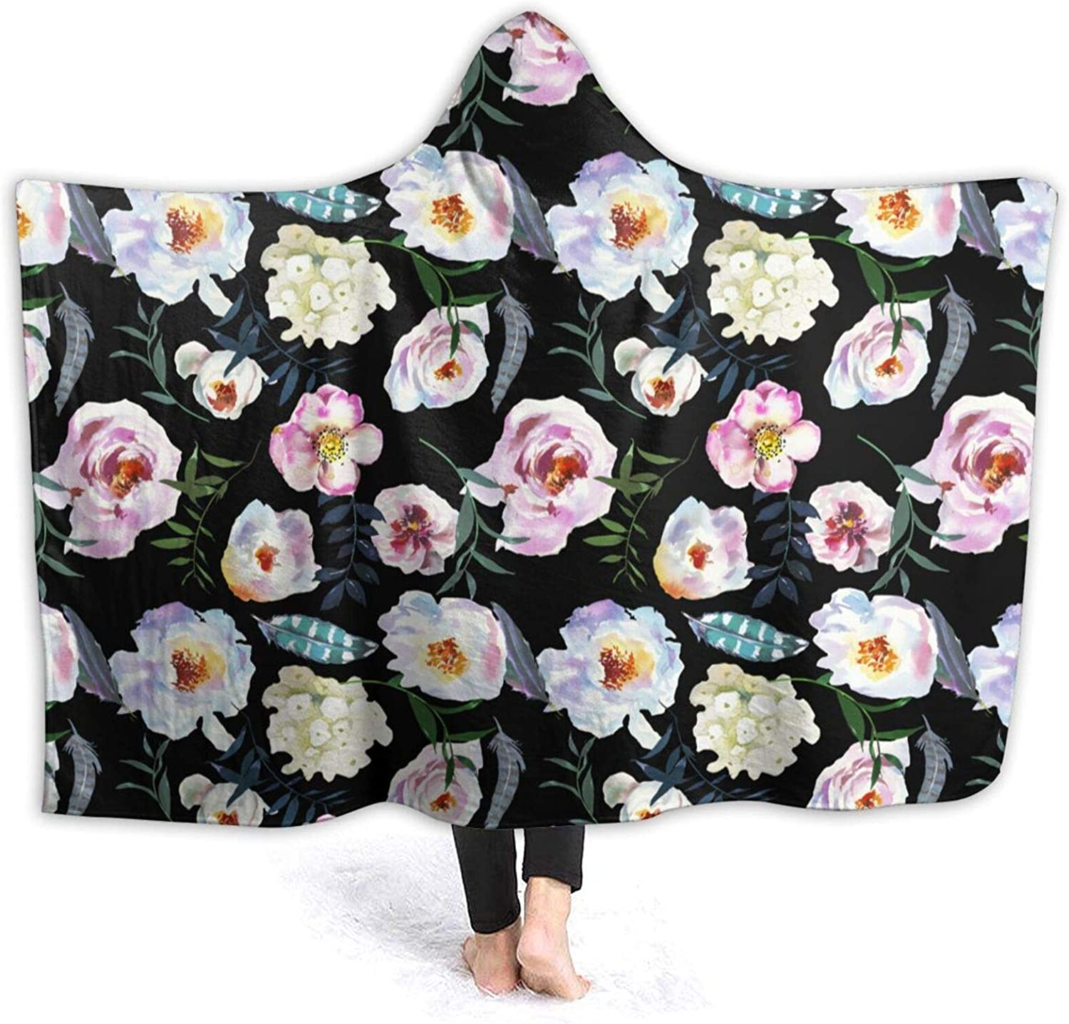 Max 62% OFF Creative Gift Hooded Blanket Watercolor Flowers Co Boho San Diego Mall Feathers