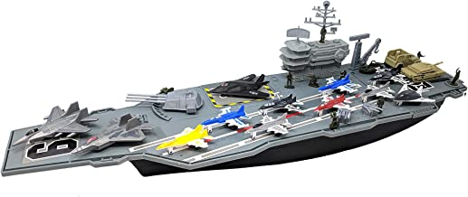Toy Essentials 27 Inch Aircraft Carrier with Fighter Jets Vehicles and Mini Soldiers (Bonus 9 Fighter Jets)