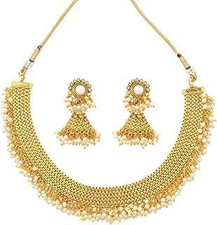Kundans Maroon Green Copper Alloy Ethnic Indian Jewelry for Women Bridal Kundan Like Necklace Set