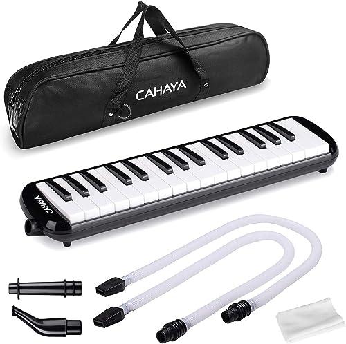 Melódica CAHAYA, Piano de Viento con 32 Teclas, Incluye Tubo de Soplado, Boquilla y Bolsa de Transporte (Negro)