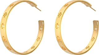 Tory Burch Pierced T Logo Hoop Earrings 16k Shiny Gold Plated 6196