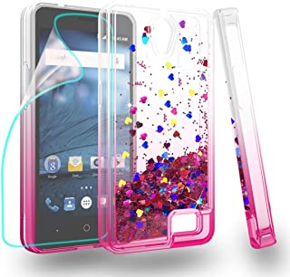 Zingcon Compatible for ZTE Avid Trio Z831 Phone Case,Z836,N9136 Glitter Quicksand Case,with HD Screen Protector,Shockproof Hybrid Hard PC Soft TPU Bling Adorable Shine Protective Cover-Clear/Rose-red