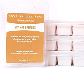 All Natural Soy Wax Melts, (3 Pack), Warm Embers Scented, Non-Toxic, 18 Cubes Total, for use in Tea Light or Flameless Plug in Electric Fragrance Warmers for Tarts, Oils and Candle Wax.