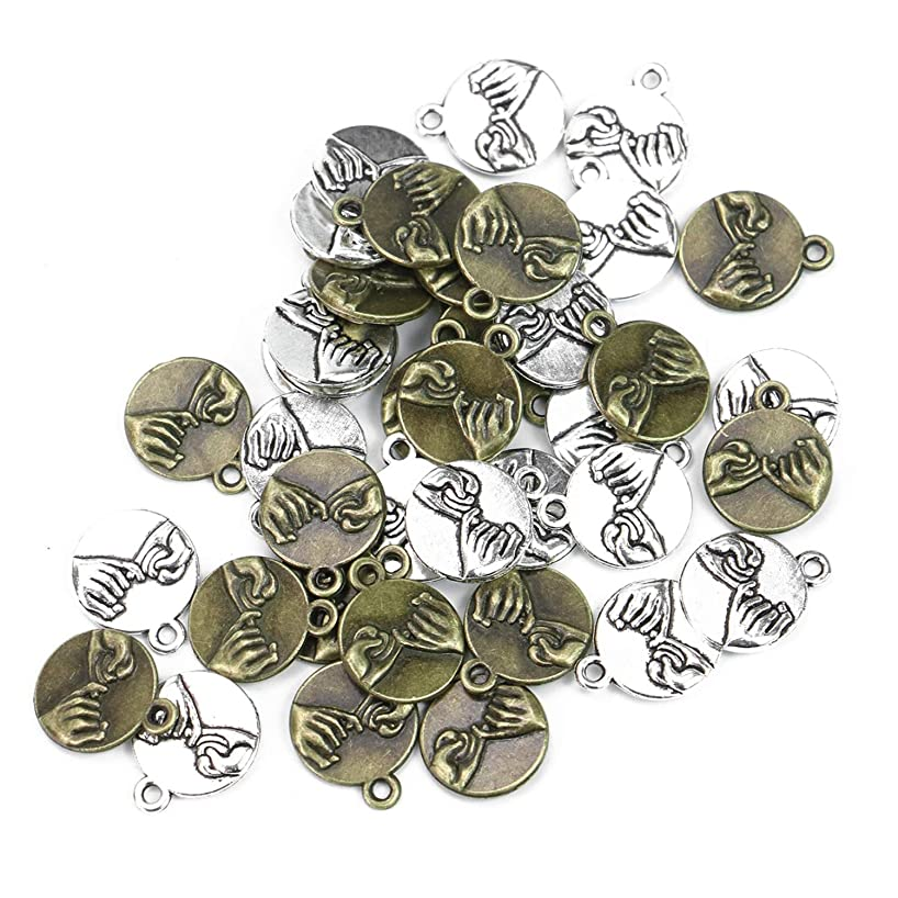 Monrocco 40pcs Best Friends Hands Charm for Jewelry Making Bracelets 18x14mm