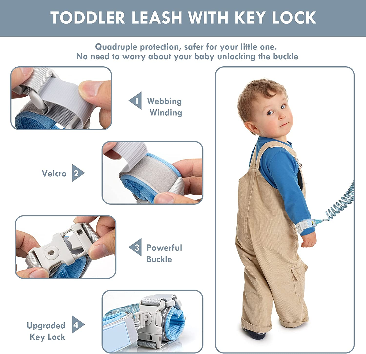 LilKisThk Child Leash, Backpack Leash for Toddlers 2Pcs, Kids Safety Leash with Key Lock, Wrist Leashes for Toddlers Anti Lost Wrist Link(Blue+Purple)