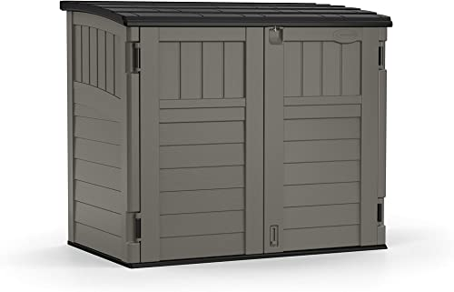 Suncast 4' x 2' Horizontal Storage Shed - Natural Wood-Like Outdoor Storage for Trash Cans and Yard Tools - All-Weath...