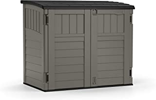 Suncast 4' x 2' Horizontal Storage Shed - Natural Wood-Like Outdoor Storage for Trash Cans and Yard Tools - All-Weather Re...