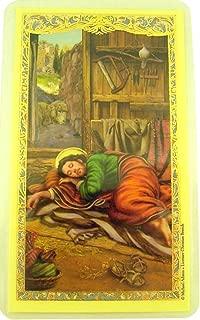 The Sleeping Saint Joseph Laminated Holy Card with Prayer, 4 1/2 Inch (Single (Pack of 1))