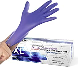 Powder Free Disposable Gloves X Large - 100 Pack - Nitrile and Vinyl Blend Material - Extra Strong, 4 Mil Thick - Latex Fr...