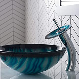Kraus C-GV-399-19mm-10CH Ladon Glass Vessel Sink and Waterfall Faucet Chrome