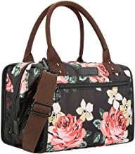 WAFA Insulated Lunch Bag for Women Men Large Capacity Lunch Box Multi-purpose Lunch Tote Bag with Adjustable Shoulder Strap Cooler Bag for School Work Picnic Camping (Peony-printed)