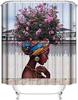 Ytzada Shower Curtain African Women Black with Flower Hair Hairstyle, Water Soap Repellent and Mildew Resistant Machine Washable Bathroom Decor Curtain Set with Hooks 70 Inches