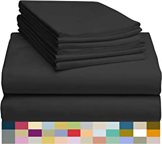 "LuxClub 6 PC Sheet Set Bamboo Sheets Deep Pockets 18"" Eco Friendly Wrinkle Free Sheets Machine Washable Hotel Bedding Silky Soft - Black California King"