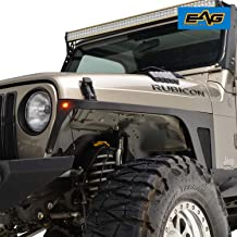 EAG Front Fender with LED Eagle Lights Armor 1 Pair Fit for 97-06 Jeep Wrangler TJ