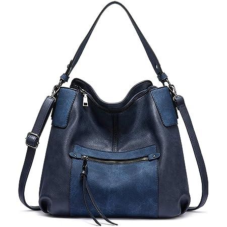 Realer Handtasche Damen Shopper Leder Umhängetasche Groß Schultertasche Frau Elegant Henkeltasche Hobo Taschen mit Abnehmbar Schulterriemen Blau