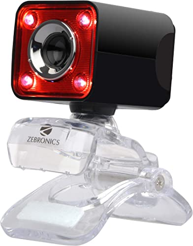 Zebronics Zeb Crystal Pro Web Camera with USB Powered 3P Lens Night Vision and Built in Mic RED