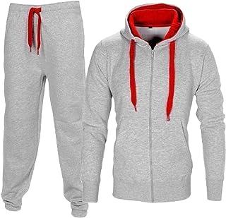 Flirty Wardrobe HNL Tuta da uomo con cappuccio, completo felpa e pantaloni, taglia comoda