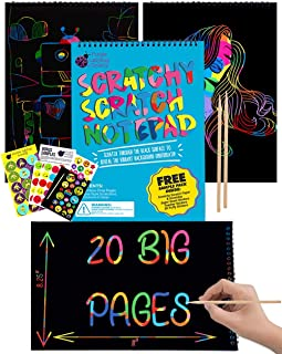 Best Purple Ladybug Rainbow Scratch Paper Art Kit for Kids - 20 Big Sheets of Scratch Off Paper in a Notepad - Great DIY Gifts for Girls, Boys and Teens, Fun Arts and Crafts Activity Set Review