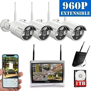 OOSSXX Sistema de cámaras de seguridad inalámbrica NVR 8CH con visión nocturna IP67 720P cámaras IP para exteriores con disco duro 12 pulgadas (Blanco)