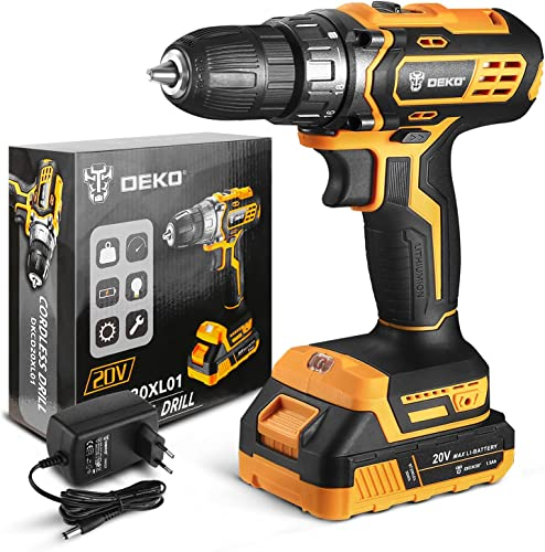 lowest DEKO 20V MAX Lithium Ion Cordless Drill, Power new arrival sale Drill Set with 3/8 Inch Keyless Chuck, 2-Variable Speed, 18+1 Clutch Electric Drill with Work Light sale