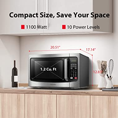Toshiba EM131A5C-SS Microwave Oven with Smart Sensor, Easy Clean Interior, ECO Mode and Sound On/Off, 1.2 Cu. ft, Stainless S