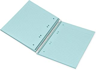 FIS Spiral Hard Cover Color Notebook, Single Ruled, 100 Sheets, Blue Color Paper, Micro Perforation, 6 Punch Holes and Saf...