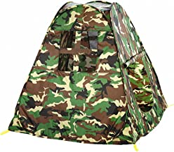 KooJoee Waterproof Anti-Mosquito Foldable Pop Up Indoor and Outdoor Army Green Camouflage Large Space Two-Door Playhouse/Castle/Tent Toys as a Gift for 1-10 Kids/boy/Girls/Baby/Infant