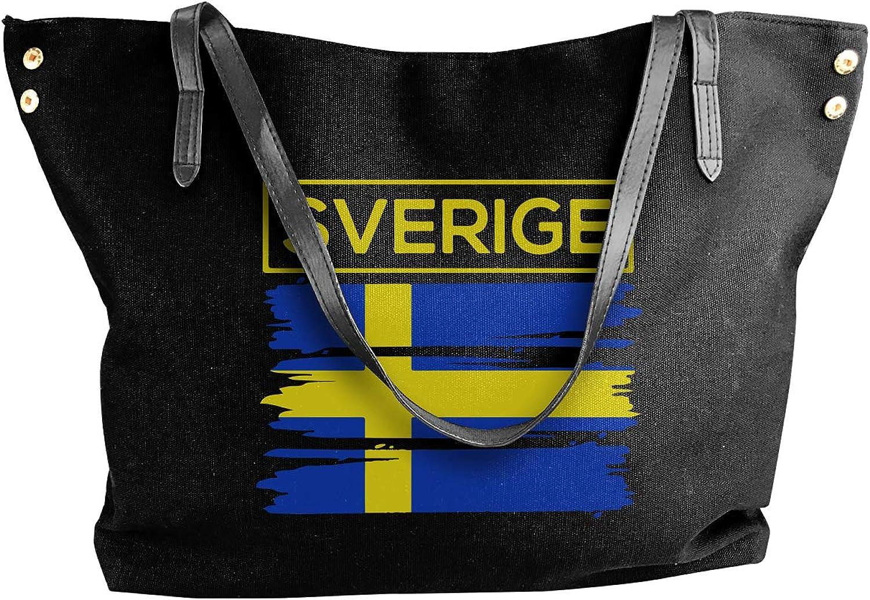 Sverige Sweden Swedish Flag1 Women'S Casual Canvas Shoulder Bag For Shopping Handbag