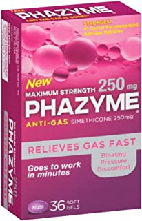 Phazyme Maximum Strength Gas and Bloating Relief | 250 mg Simethicone | 36 FAST GELS