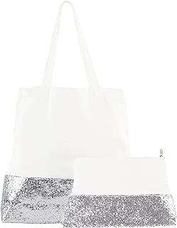 silver sequin tote bag