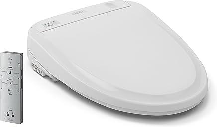 Toto Washlet S300e Asiento de retrete alargado con eWater + desinfectante, blanco algodón – SW574#01, Redondo, Algodón blanco