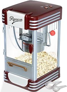Jago® Machine à Popcorn - 60L/h, 200g/10min, avec Casserole en Acier Inoxydable, pour Maïs Soufflé Sucré et Salé, Look Rét...