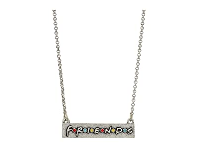 Alex and Ani 32 Friends, Logo Bar Adjustable Necklace (Rafaelian Silver) Necklace