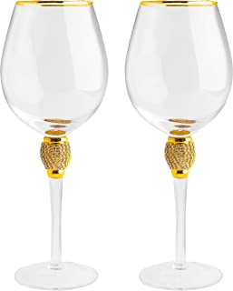 Large Diamond Wine Glasses, With Gold Rim - Set of 2-15 Ounce, Premium Designed Wine Glasses for Spirits and Wine, 10-Ounces, Gift Boxed By The Wine Savant