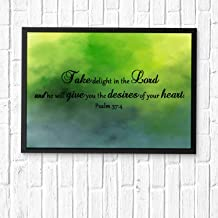 HaiGuoQu Take Delight in The Lord, and he Will give You The Desires of Your Heart.Wall Décor, Religious Bible Verses Inspire Poster Wall Art Prints Framed 14x11in