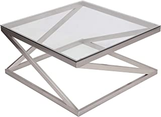 Signature Design by Ashley – Coylin Square Glass Coffee Table, Silver